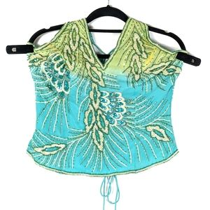 Aftershock Silk Beaded Sequin Top